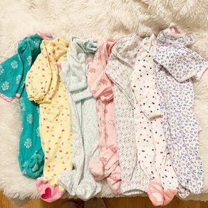 3 Month Baby Body Suit Pajama Bundle of 7